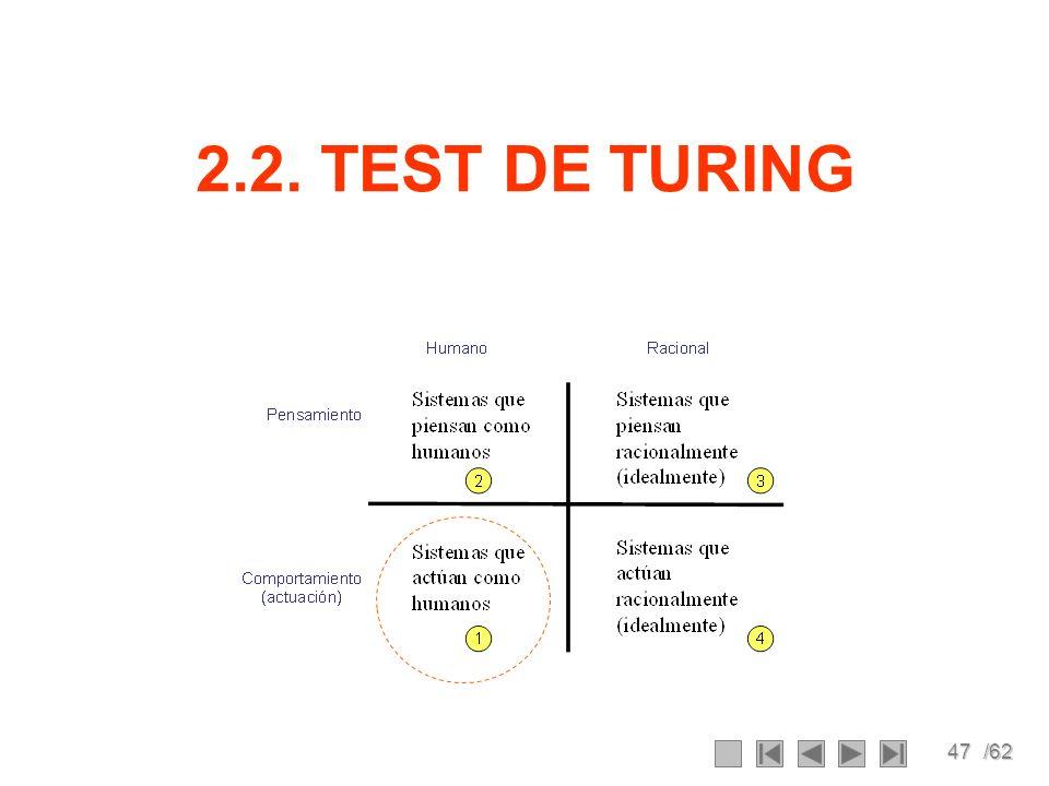 47/62 2.2. TEST DE TURING