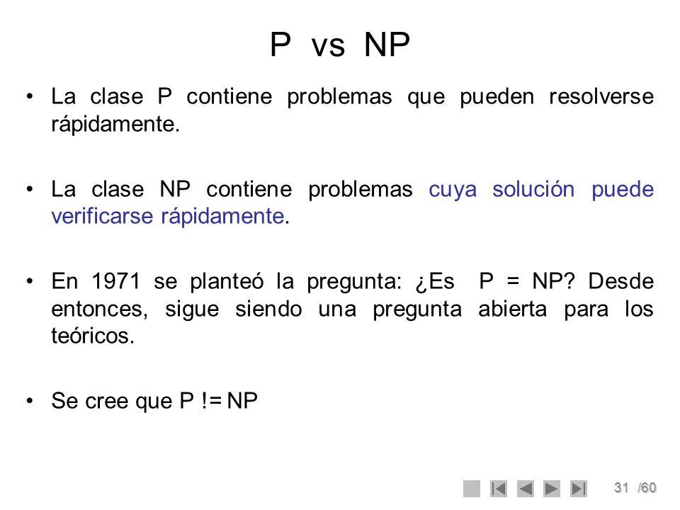 31/60 P vs NP La clase P contiene problemas que pueden resolverse rápidamente. La clase NP contiene problemas cuya solución puede verificarse rápidame