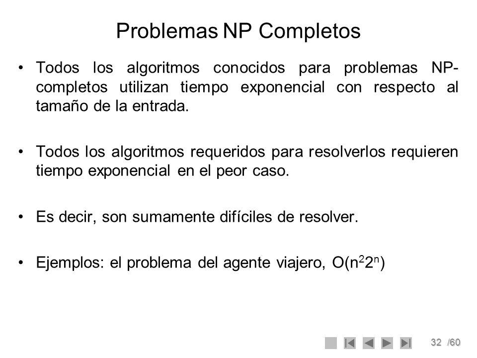 32/60 Problemas NP Completos Todos los algoritmos conocidos para problemas NP- completos utilizan tiempo exponencial con respecto al tamaño de la entr