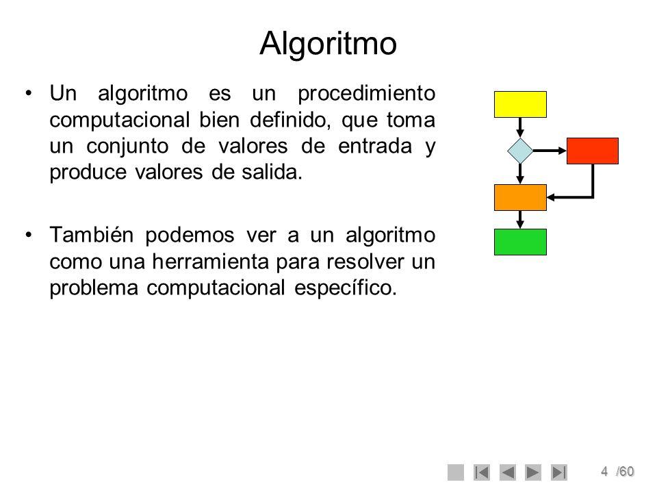 4/60 Algoritmo Un algoritmo es un procedimiento computacional bien definido, que toma un conjunto de valores de entrada y produce valores de salida. T