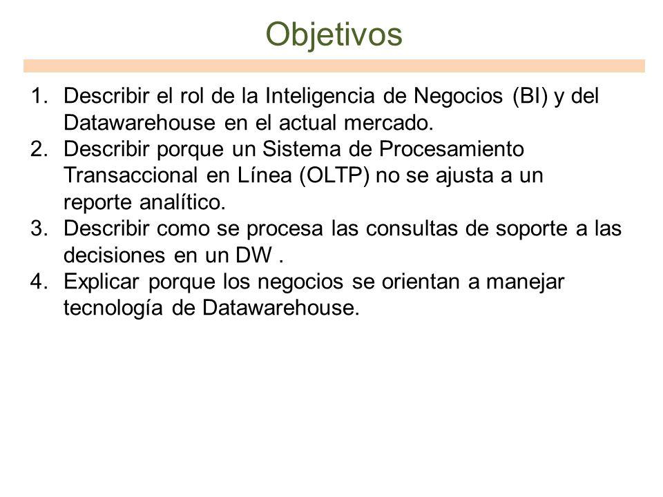 Objetivos 1.Describir el rol de la Inteligencia de Negocios (BI) y del Datawarehouse en el actual mercado. 2.Describir porque un Sistema de Procesamie