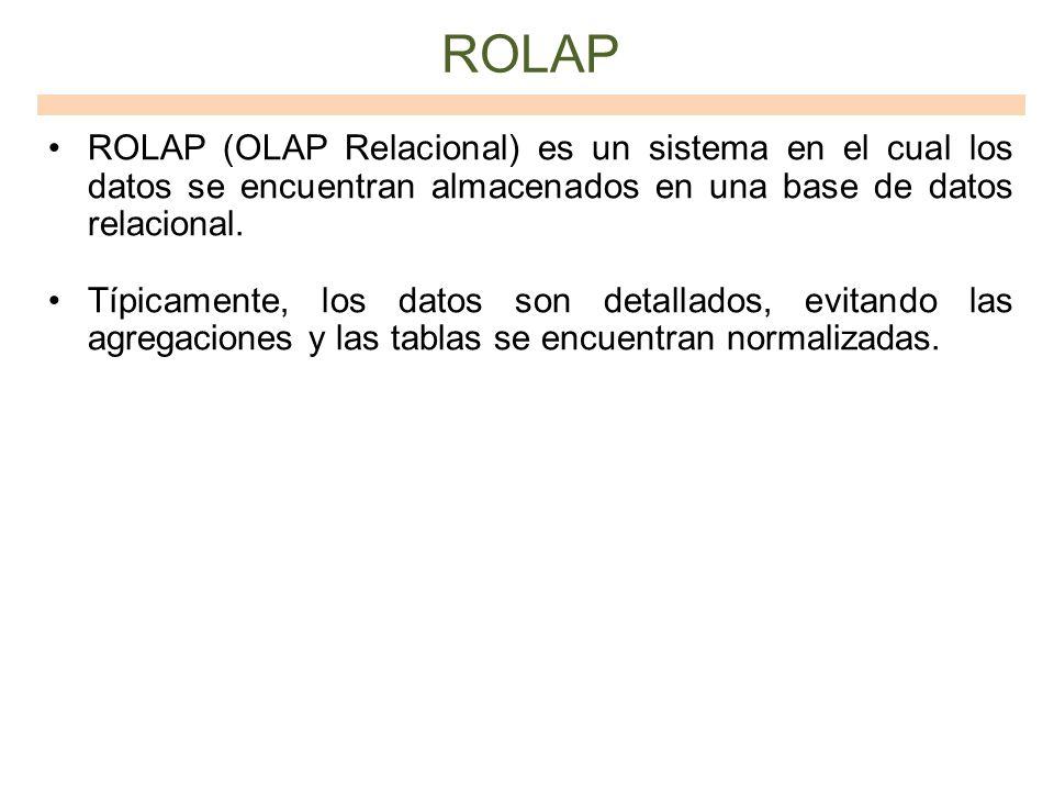 ROLAP ROLAP (OLAP Relacional) es un sistema en el cual los datos se encuentran almacenados en una base de datos relacional. Típicamente, los datos son