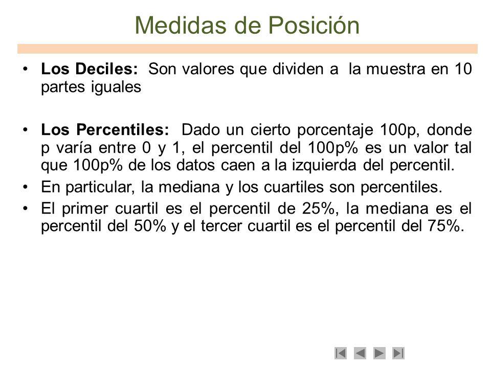 Medidas de Posición Los Deciles: Son valores que dividen a la muestra en 10 partes iguales Los Percentiles: Dado un cierto porcentaje 100p, donde p va