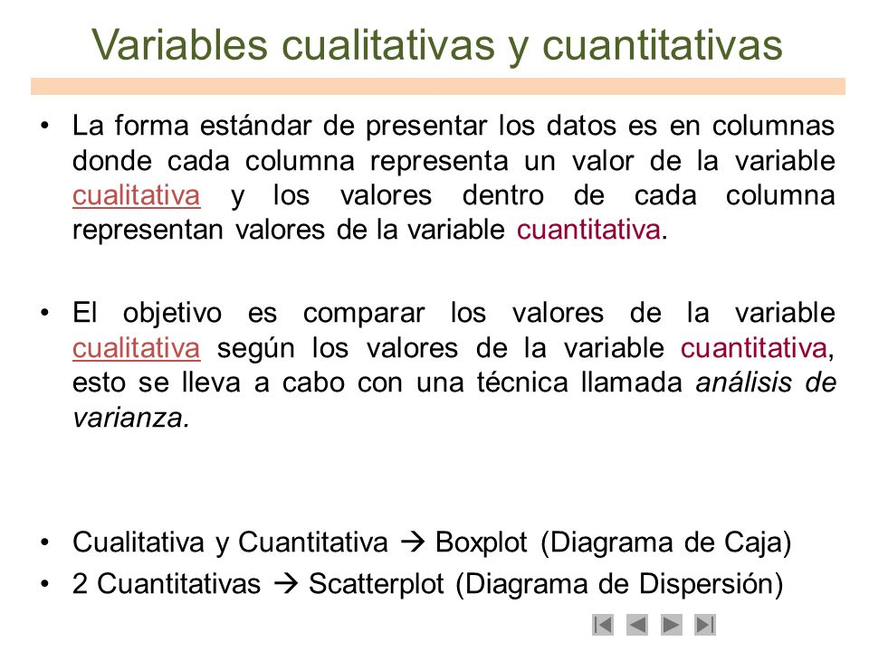 Variables cualitativas y cuantitativas La forma estándar de presentar los datos es en columnas donde cada columna representa un valor de la variable c