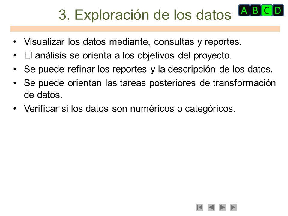 3. Exploración de los datos Visualizar los datos mediante, consultas y reportes. El análisis se orienta a los objetivos del proyecto. Se puede refinar