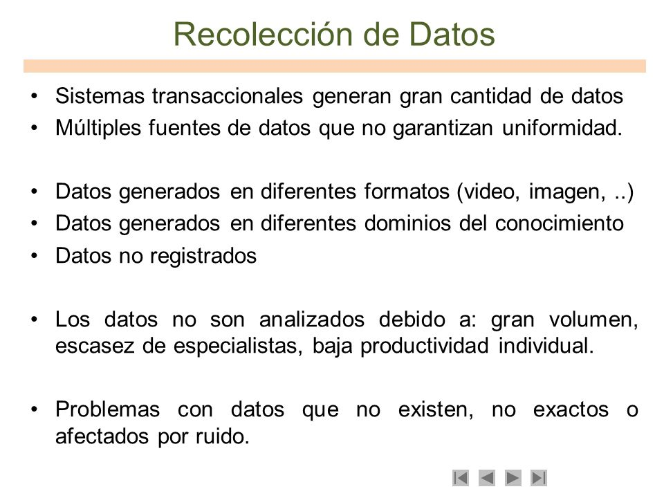Tipos de Datos Tablas transaccionales.Imágenes videoSeries de tiempo.