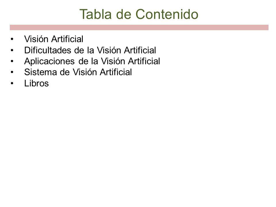 Tabla de Contenido Visión Artificial Dificultades de la Visión Artificial Aplicaciones de la Visión Artificial Sistema de Visión Artificial Libros