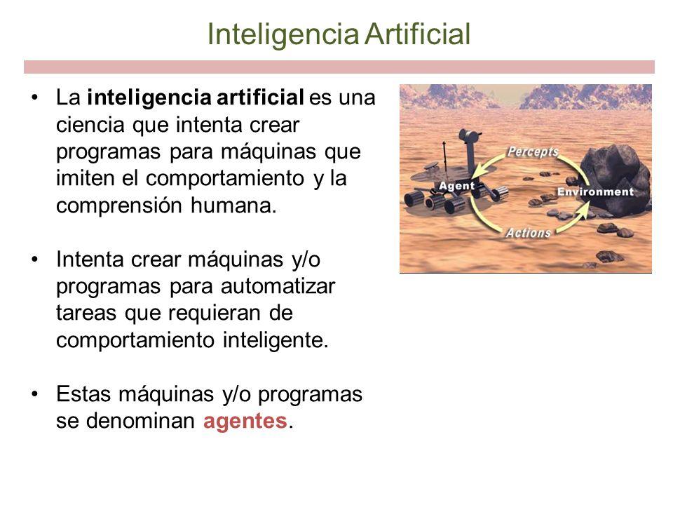 Inteligencia Artificial La inteligencia artificial es una ciencia que intenta crear programas para máquinas que imiten el comportamiento y la comprens