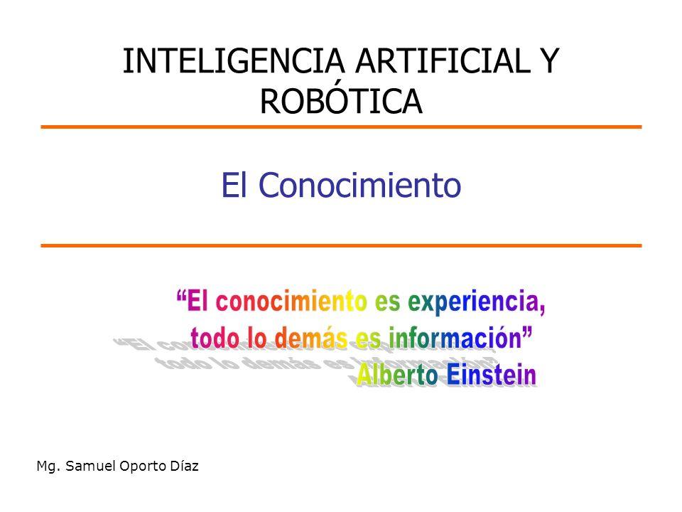 El Conocimiento Mg. Samuel Oporto Díaz INTELIGENCIA ARTIFICIAL Y ROBÓTICA