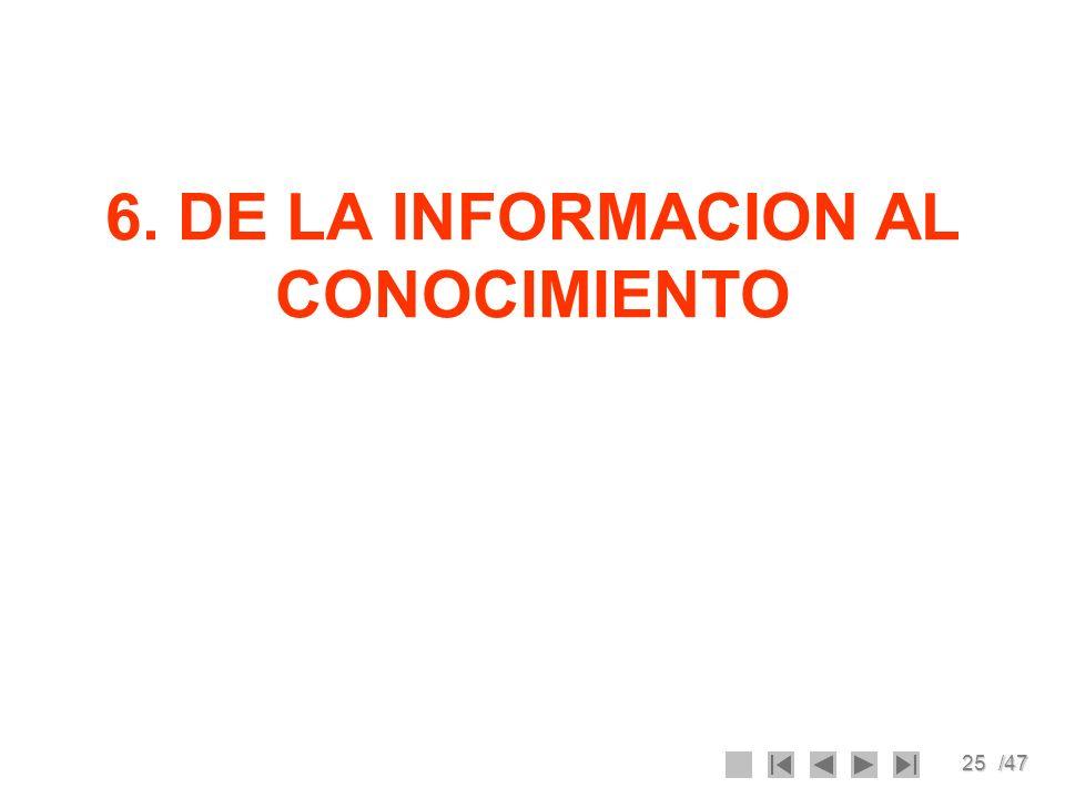 25/47 6. DE LA INFORMACION AL CONOCIMIENTO