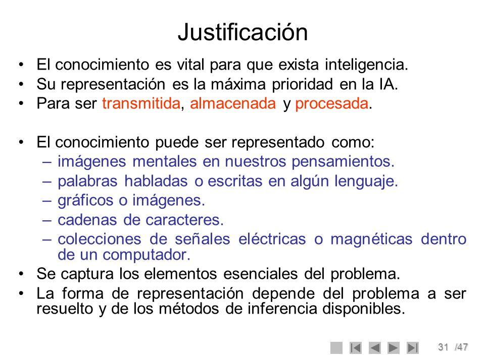 31/47 Justificación El conocimiento es vital para que exista inteligencia. Su representación es la máxima prioridad en la IA. Para ser transmitida, al