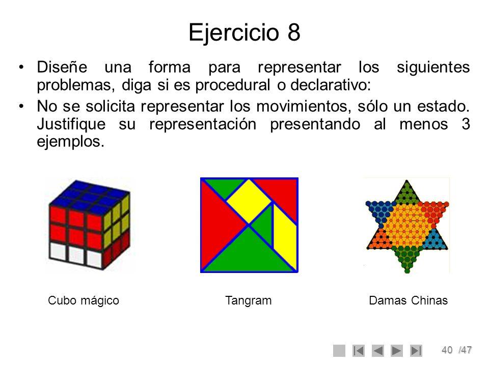 40/47 Ejercicio 8 Diseñe una forma para representar los siguientes problemas, diga si es procedural o declarativo: No se solicita representar los movi