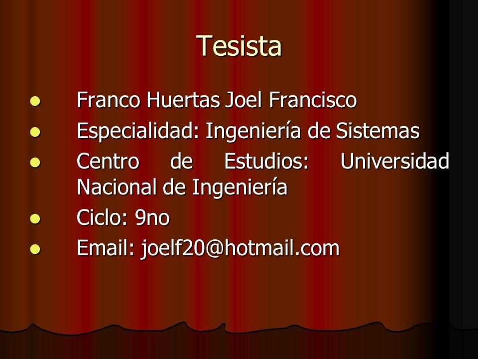 Tesista Franco Huertas Joel Francisco Franco Huertas Joel Francisco Especialidad: Ingeniería de Sistemas Especialidad: Ingeniería de Sistemas Centro d