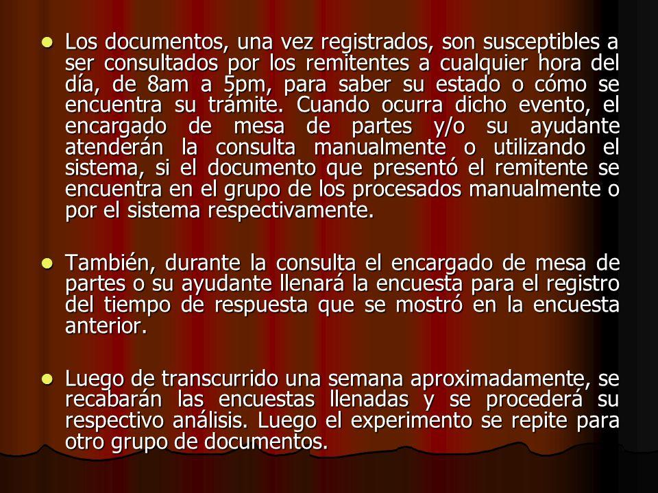 Los documentos, una vez registrados, son susceptibles a ser consultados por los remitentes a cualquier hora del día, de 8am a 5pm, para saber su estad
