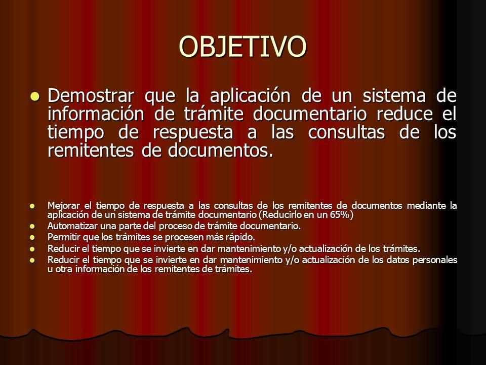 OBJETIVO Demostrar que la aplicación de un sistema de información de trámite documentario reduce el tiempo de respuesta a las consultas de los remiten