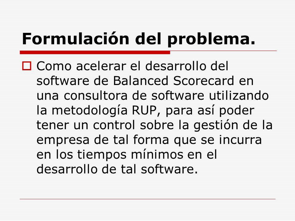 Formulación del problema. Como acelerar el desarrollo del software de Balanced Scorecard en una consultora de software utilizando la metodología RUP,