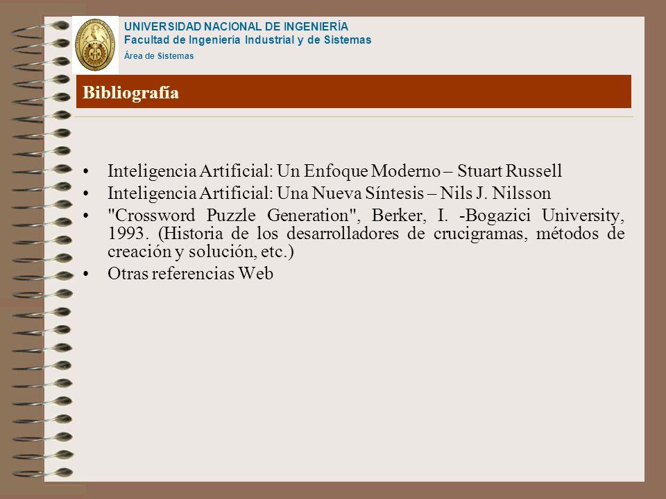 UNIVERSIDAD NACIONAL DE INGENIERÍA Facultad de Ingeniería Industrial y de Sistemas Área de Sistemas Bibliografía Inteligencia Artificial: Un Enfoque M