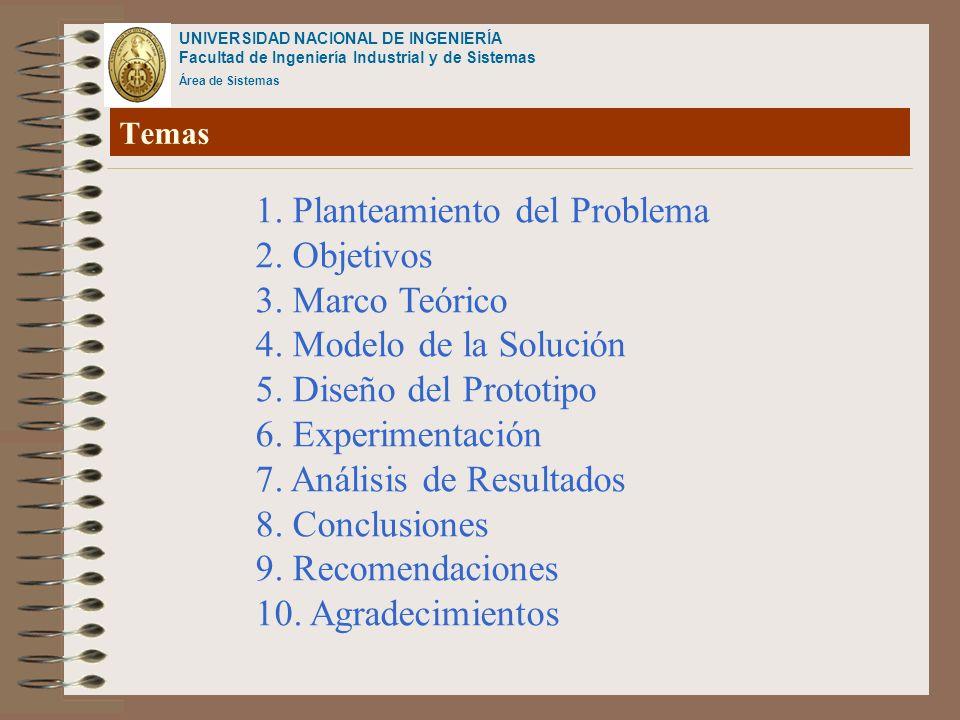 UNIVERSIDAD NACIONAL DE INGENIERÍA Facultad de Ingeniería Industrial y de Sistemas Área de Sistemas Temas 1. Planteamiento del Problema 2. Objetivos 3