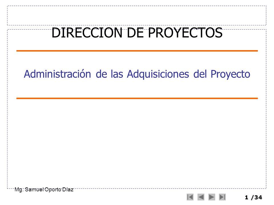 1/34 Administración de las Adquisiciones del Proyecto Mg. Samuel Oporto Díaz DIRECCION DE PROYECTOS