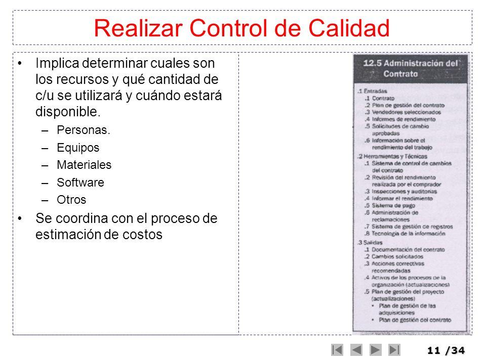 11/34 Realizar Control de Calidad Implica determinar cuales son los recursos y qué cantidad de c/u se utilizará y cuándo estará disponible. –Personas.