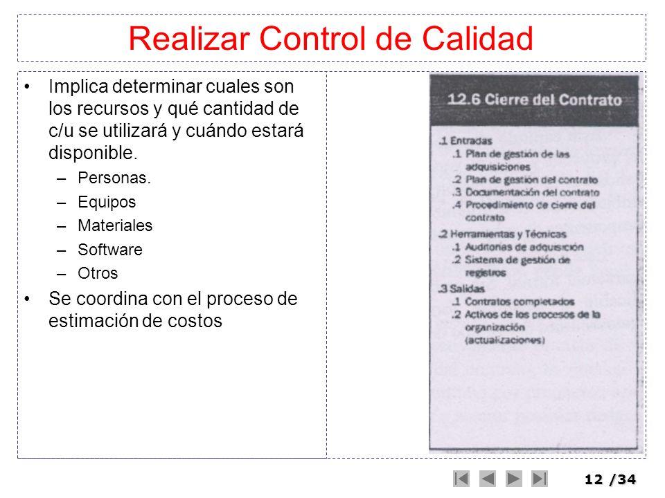 12/34 Realizar Control de Calidad Implica determinar cuales son los recursos y qué cantidad de c/u se utilizará y cuándo estará disponible. –Personas.