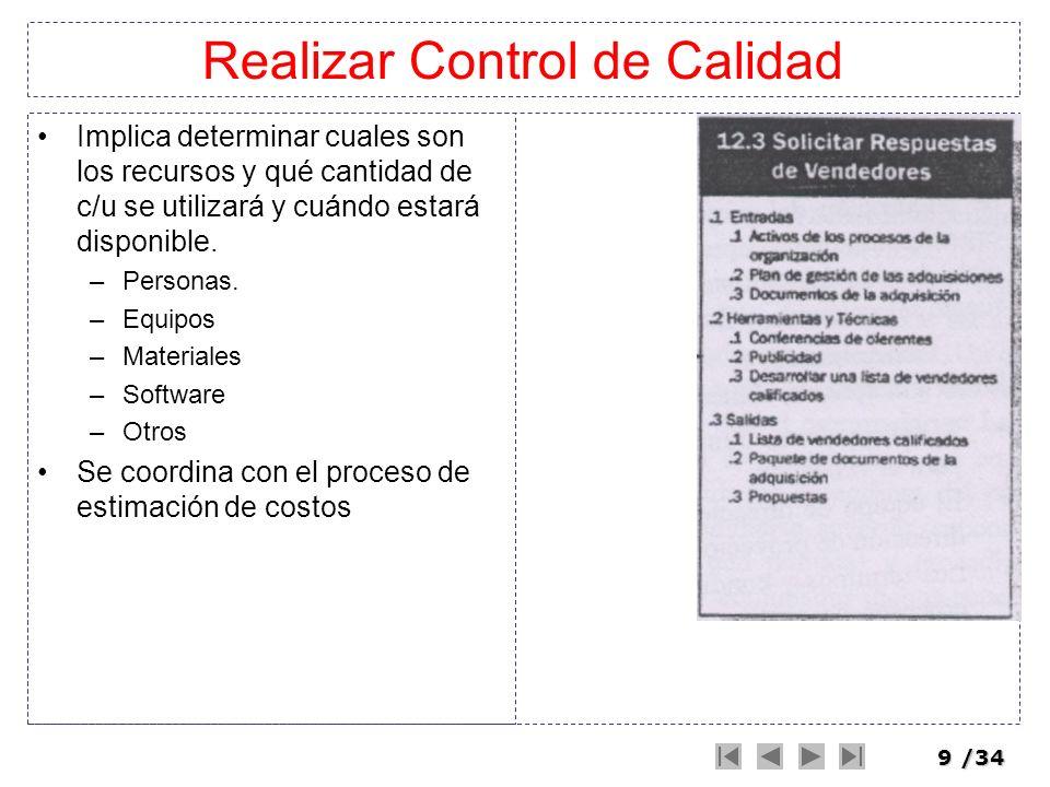 10/34 Realizar Control de Calidad Implica determinar cuales son los recursos y qué cantidad de c/u se utilizará y cuándo estará disponible.