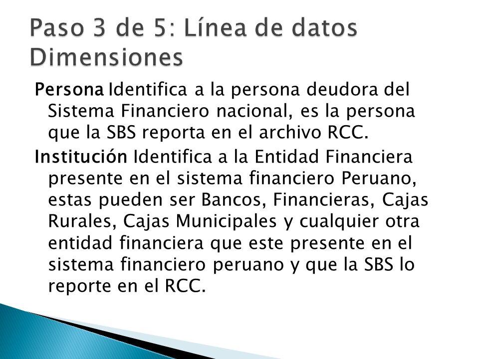 Persona Identifica a la persona deudora del Sistema Financiero nacional, es la persona que la SBS reporta en el archivo RCC.
