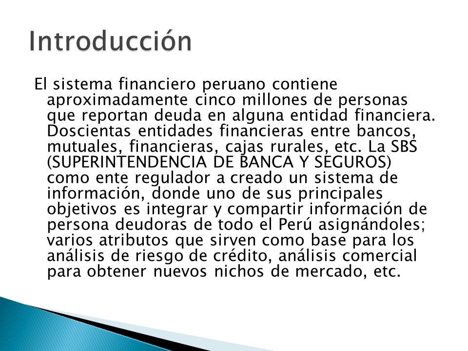 Una entidad financiera peruana en el sistema financiero peruano requiere una sistema de información para análisis de información con el fin de que sus expertos de negocio tengan una herramienta que les ayude a realizar y completar análisis según las necesidades del negocio, dentro del ámbito de información externa de mercado.