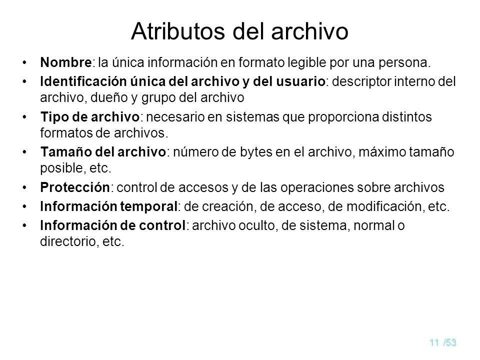 10/53 Concepto de archivo Un espacio lógico de direcciones contiguas usado para almacenar datos Tipos de archivos: –Datos: numéricos carácter binarios