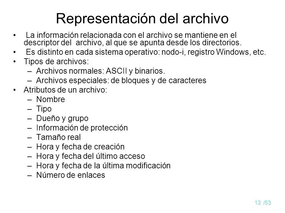 11/53 Atributos del archivo Nombre: la única información en formato legible por una persona. Identificación única del archivo y del usuario: descripto