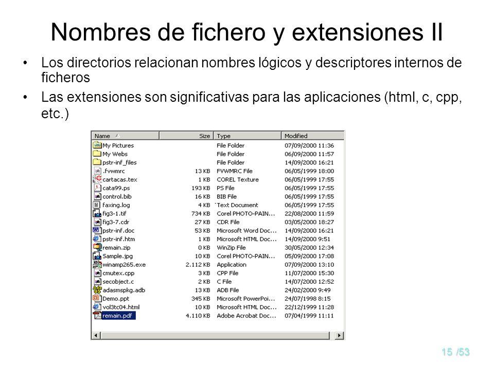 14/53 Nombres de fichero y extensiones I Muy importante para los usuarios. Es característico de cada sistema de archivos. Problema: usar nombre lógico