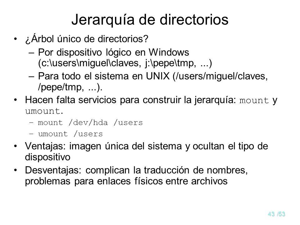 42/53 Interpretación de nombres en LINUX. II Interpretar /users/miguel/claves –Traer a memoria entradas archivo con nodo-i 2 –Se busca dentro users y