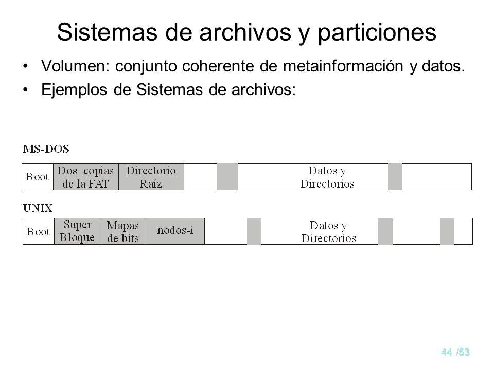 43/53 Jerarquía de directorios ¿Árbol único de directorios? –Por dispositivo lógico en Windows (c:\users\miguel\claves, j:\pepe\tmp,...) –Para todo el