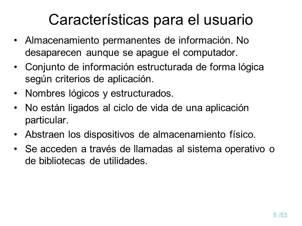 5/53 Características para el usuario Almacenamiento permanentes de información.