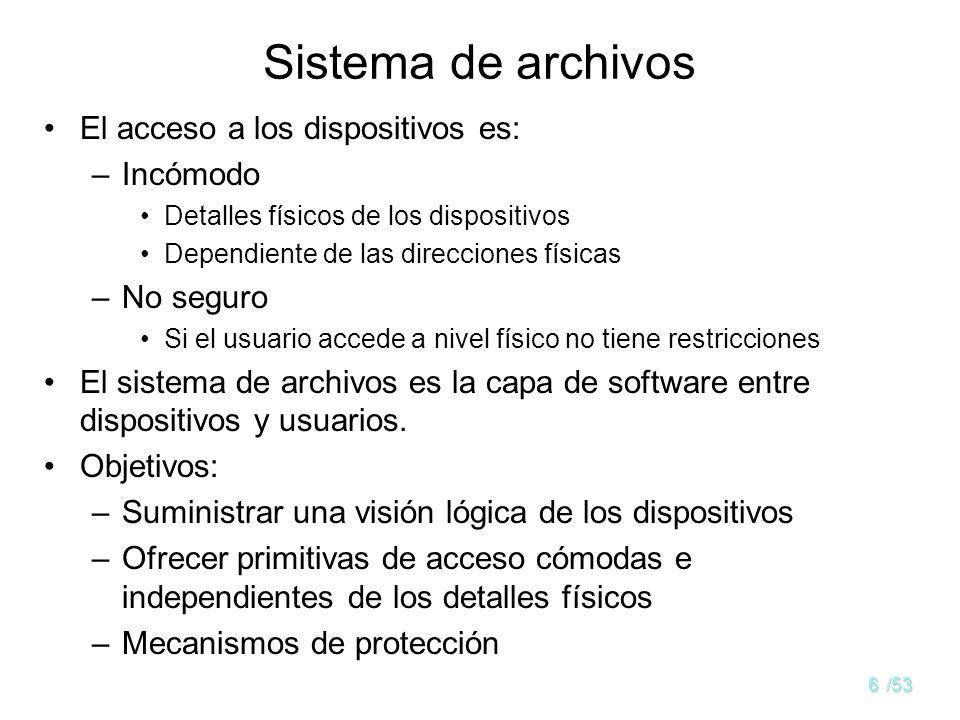 6/53 Sistema de archivos El acceso a los dispositivos es: –Incómodo Detalles físicos de los dispositivos Dependiente de las direcciones físicas –No seguro Si el usuario accede a nivel físico no tiene restricciones El sistema de archivos es la capa de software entre dispositivos y usuarios.