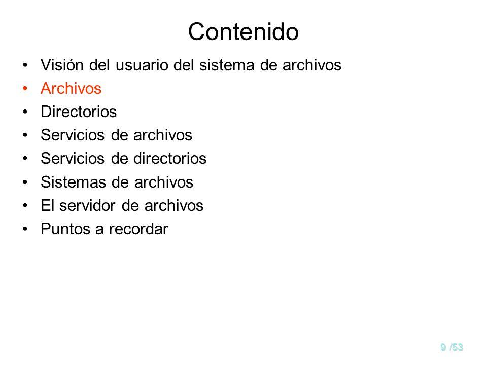 9/53 Contenido Visión del usuario del sistema de archivos Archivos Directorios Servicios de archivos Servicios de directorios Sistemas de archivos El servidor de archivos Puntos a recordar