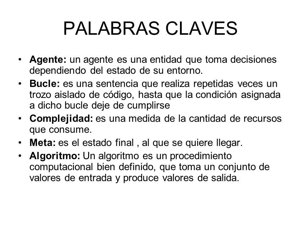 PALABRAS CLAVES Agente: un agente es una entidad que toma decisiones dependiendo del estado de su entorno. Bucle: es una sentencia que realiza repetid