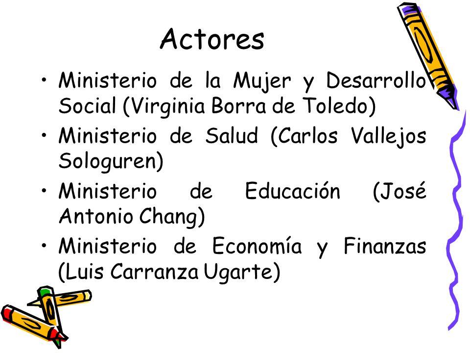 Actores Ministerio de la Mujer y Desarrollo Social (Virginia Borra de Toledo) Ministerio de Salud (Carlos Vallejos Sologuren) Ministerio de Educación
