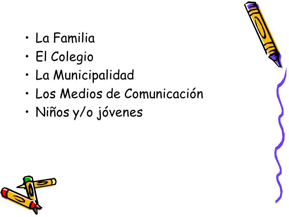 La Familia El Colegio La Municipalidad Los Medios de Comunicación Niños y/o jóvenes