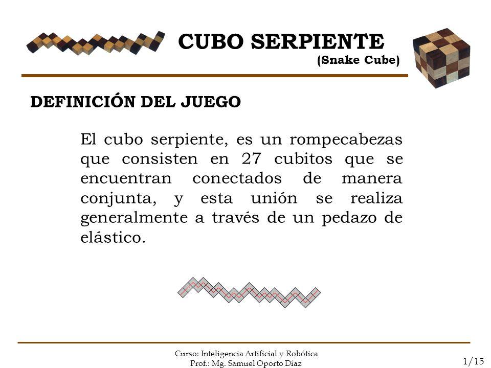CUBO SERPIENTE (Snake Cube) Curso: Inteligencia Artificial y Robótica Prof.: Mg. Samuel Oporto Díaz 1/15 DEFINICIÓN DEL JUEGO El cubo serpiente, es un