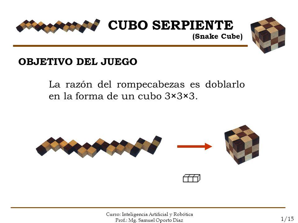 CUBO SERPIENTE (Snake Cube) Curso: Inteligencia Artificial y Robótica Prof.: Mg. Samuel Oporto Díaz 1/15 OBJETIVO DEL JUEGO La razón del rompecabezas