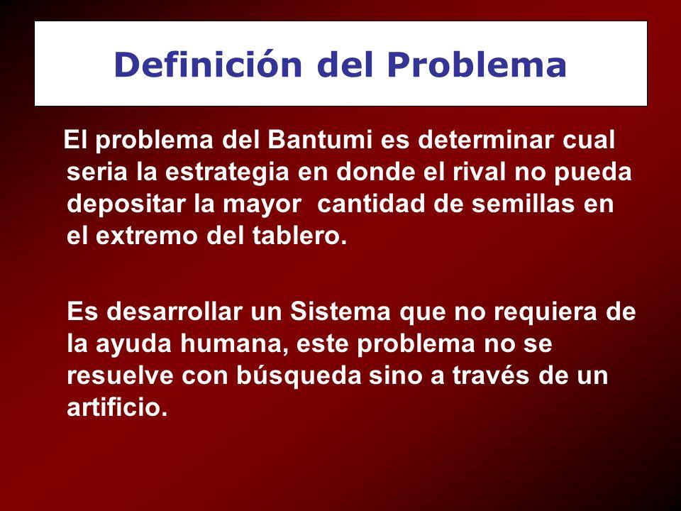 Definición del Problema El problema del Bantumi es determinar cual seria la estrategia en donde el rival no pueda depositar la mayor cantidad de semil