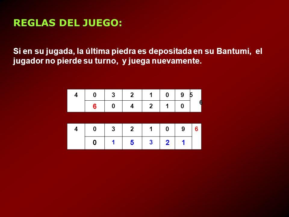 Si en su jugada, la última piedra es depositada en su Bantumi, el jugador no pierde su turno, y juega nuevamente. 40321095656 6 04210 40321096 0 1 5 3