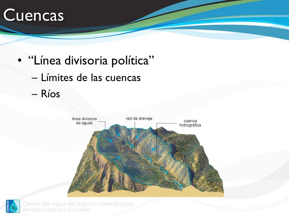 Cuencas Línea divisoria política –Límites de las cuencas –Ríos
