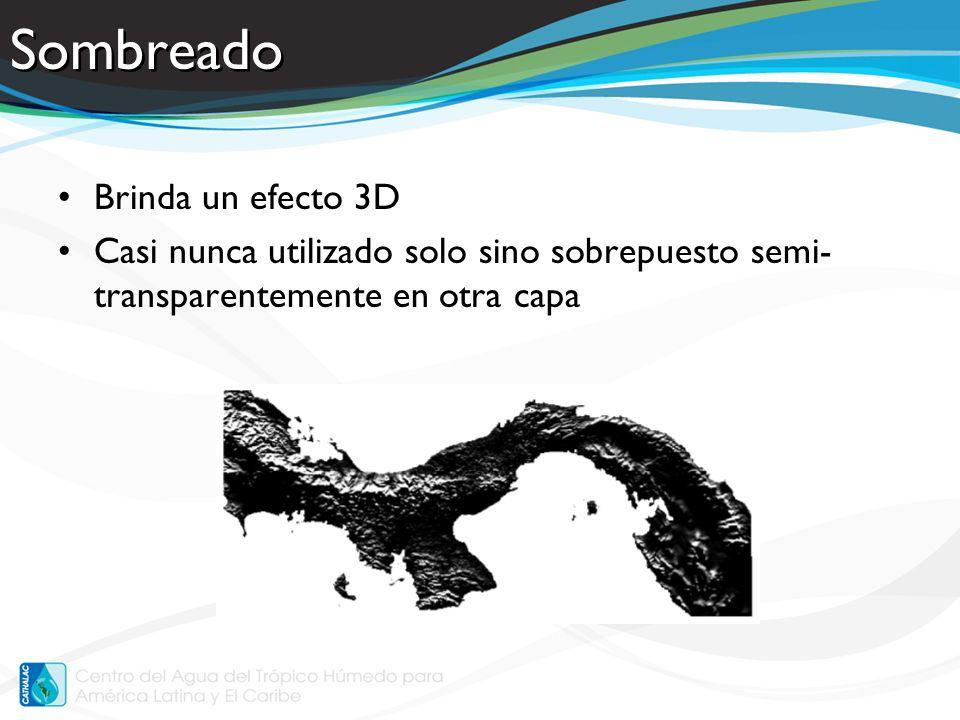 Sombreado Brinda un efecto 3D Casi nunca utilizado solo sino sobrepuesto semi- transparentemente en otra capa