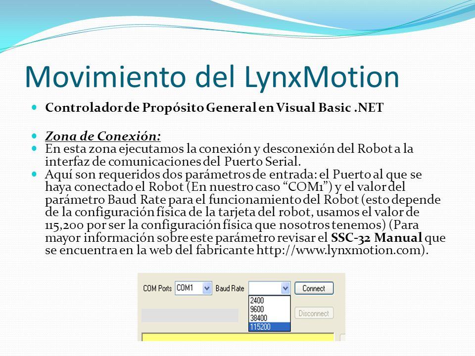 Movimiento del LynxMotion Controlador de Propósito General en Visual Basic.NET Zona de Conexión: En esta zona ejecutamos la conexión y desconexión del