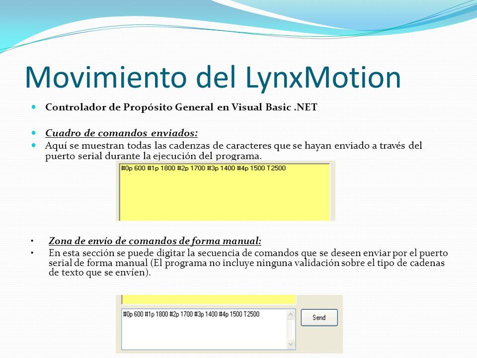 Movimiento del LynxMotion Controlador de Propósito General en Visual Basic.NET Cuadro de comandos enviados: Aquí se muestran todas las cadenzas de car