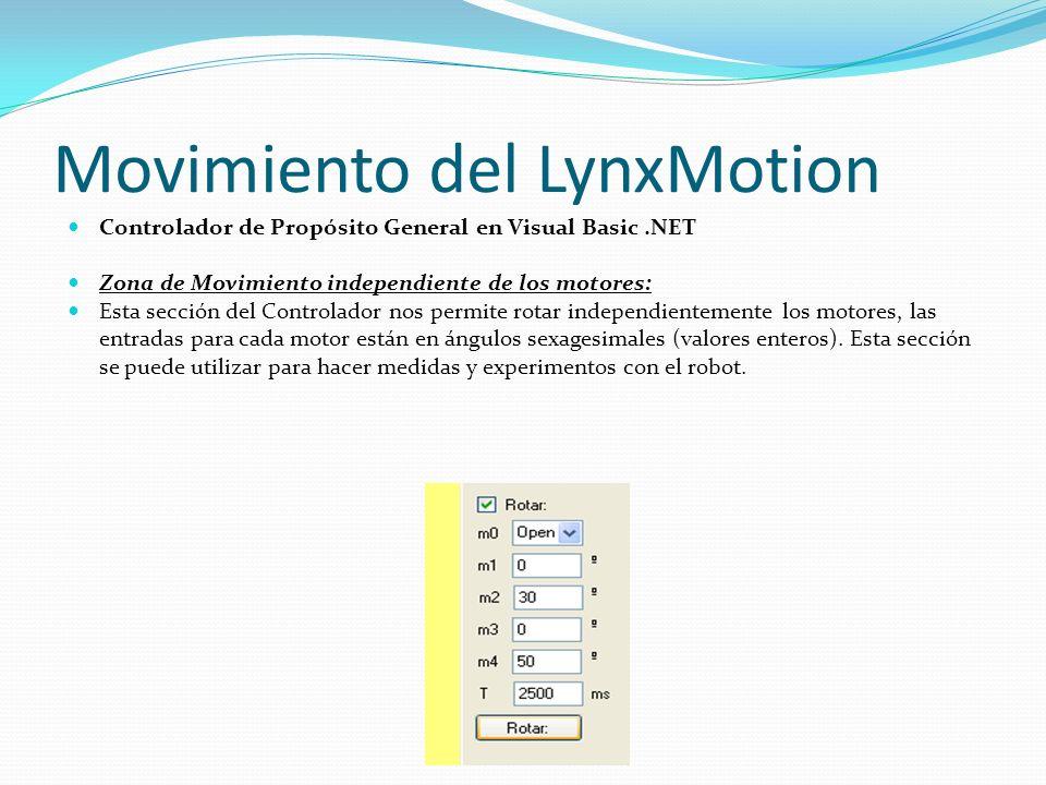Movimiento del LynxMotion Controlador de Propósito General en Visual Basic.NET Zona de Movimiento independiente de los motores: Esta sección del Contr