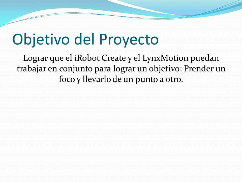 Objetivo del Proyecto Lograr que el iRobot Create y el LynxMotion puedan trabajar en conjunto para lograr un objetivo: Prender un foco y llevarlo de u