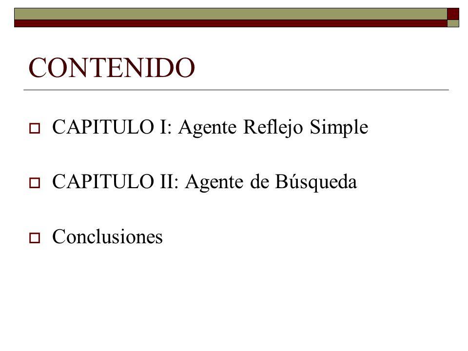 CONTENIDO CAPITULO I: Agente Reflejo Simple CAPITULO II: Agente de Búsqueda Conclusiones